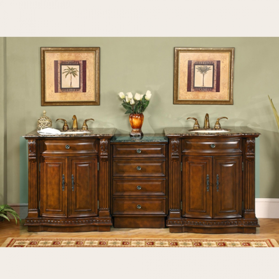 84 inch large double sink vanity with baltic brown counter top
