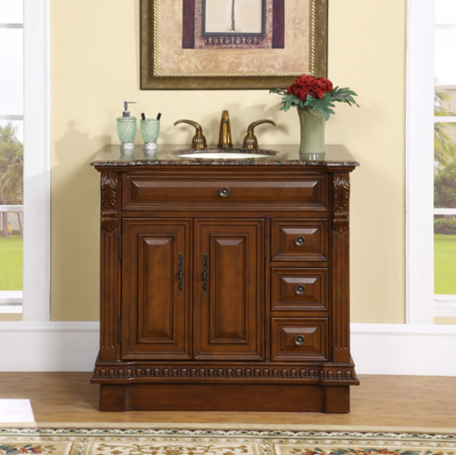 38 inch single sink bathroom vanity with granite counter for Granite bathroom vanity