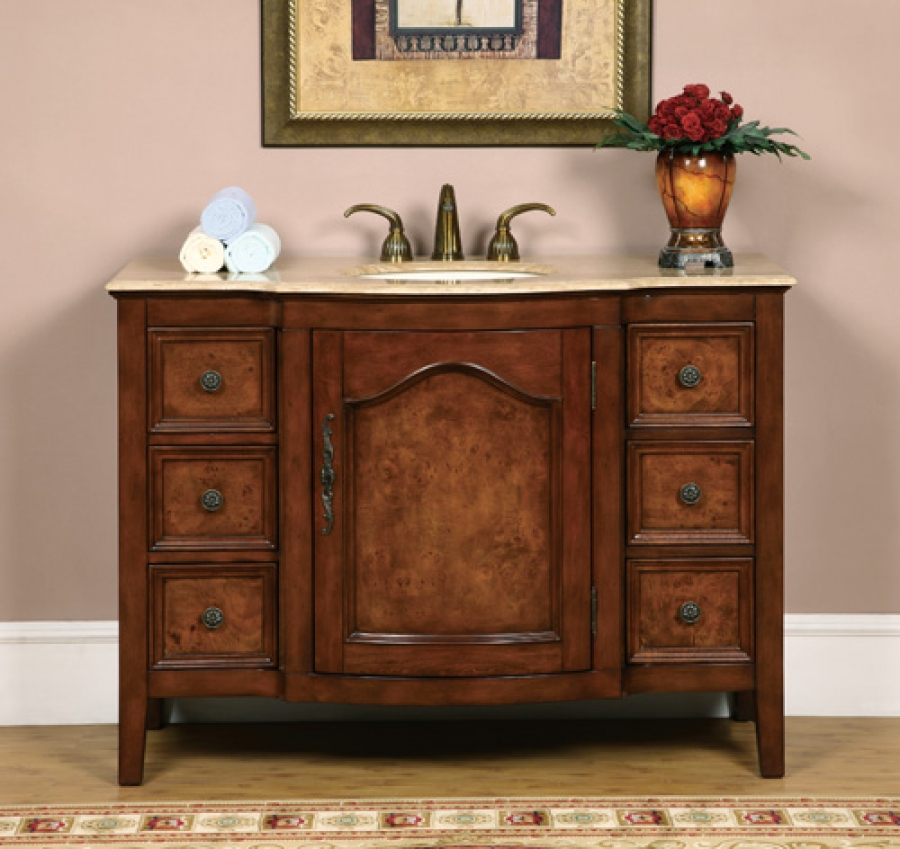 48 Inch Antique Two Tone Single Sink Vanity Uvsr070148
