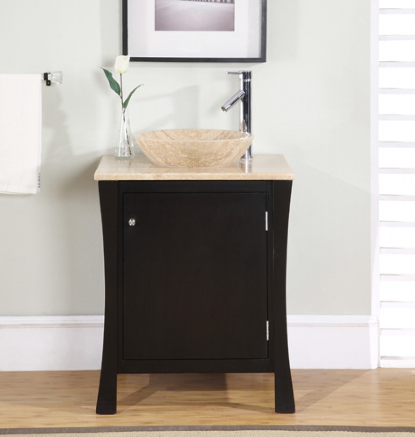 Superb 26 Inch Modern Vessel Sink Bathroom Vanity In Espresso