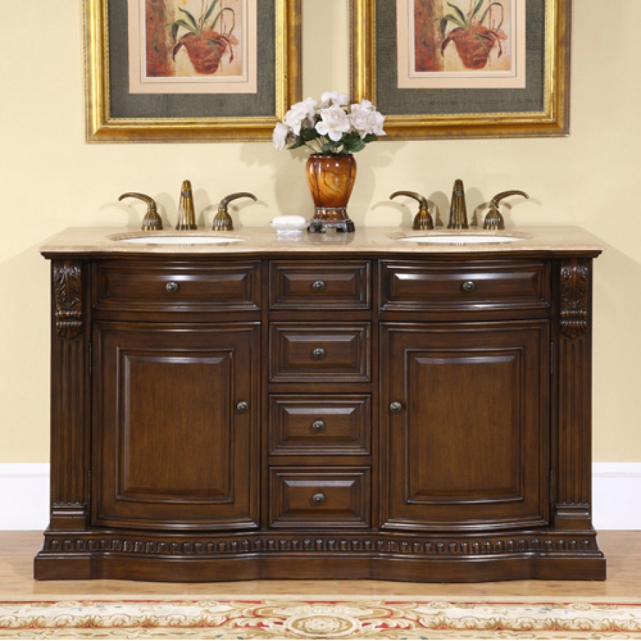 60 Inch Furniture Style Double Sink Vanity with Travertine ...