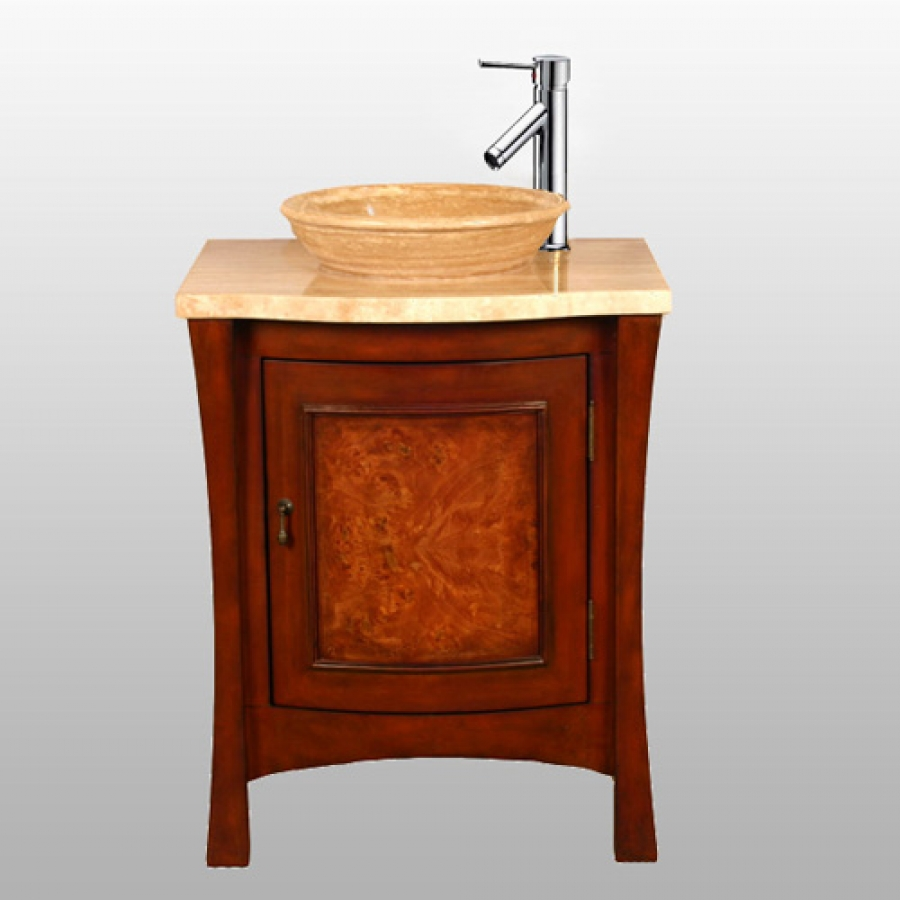 26 Inch Modern Vessel Sink Vanity In Multi Tone Brown Finish