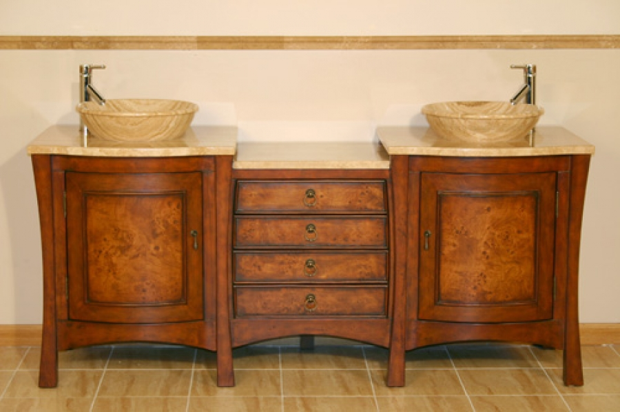 72 Inch Large Double Vessel Sink Vanity With Four Drawer Center Console UVSR0