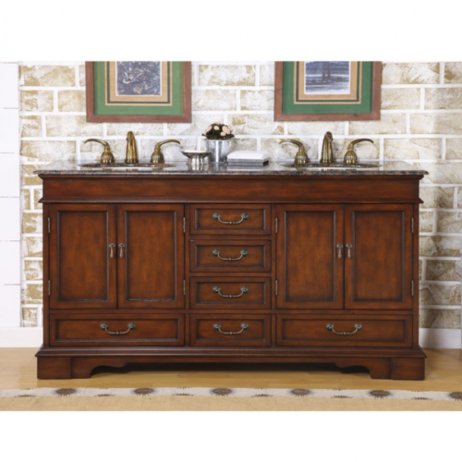 60 inch furniture style double sink vanity with travertine for Furniture 60s style