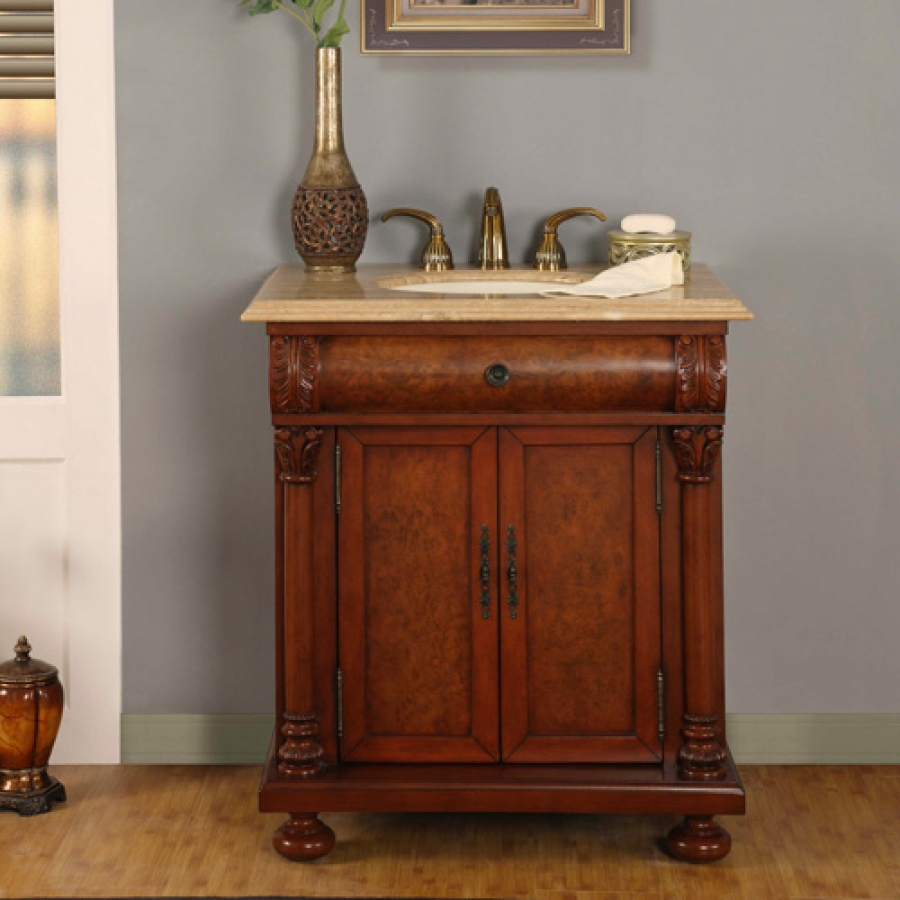 Elegant 32 Inch LED Single Sink Bathroom Vanity With Travertine