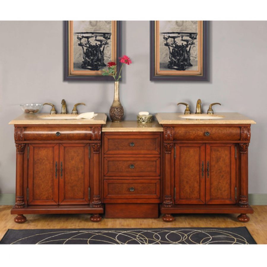 82.5 Inch Light Brown Double Sink Vanity with LED Lighting ...