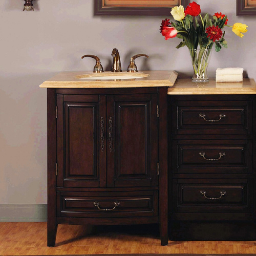 46.5 Inch Single Sink Bathroom Vanity with LED Travertine