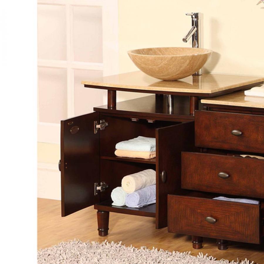 465 Inch Modern Travertine Vessel Sink Bathroom Vanity With Extra