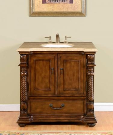 36 Inch Single Sink Bathroom Vanity In Brazilian Rosewood