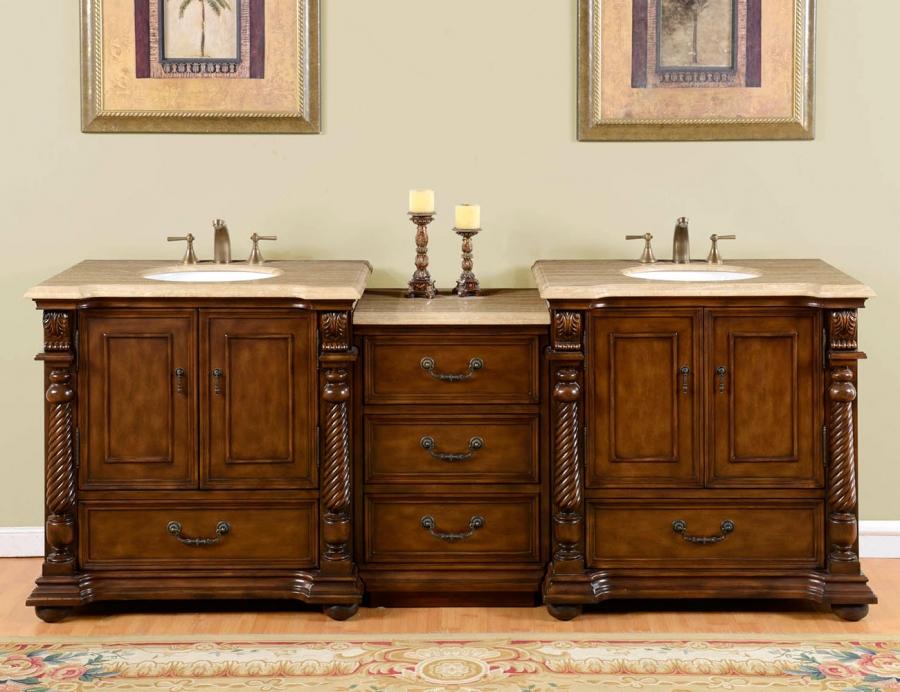 92 Inch Double Sink Bathroom Vanity In Brazilian Rosewood