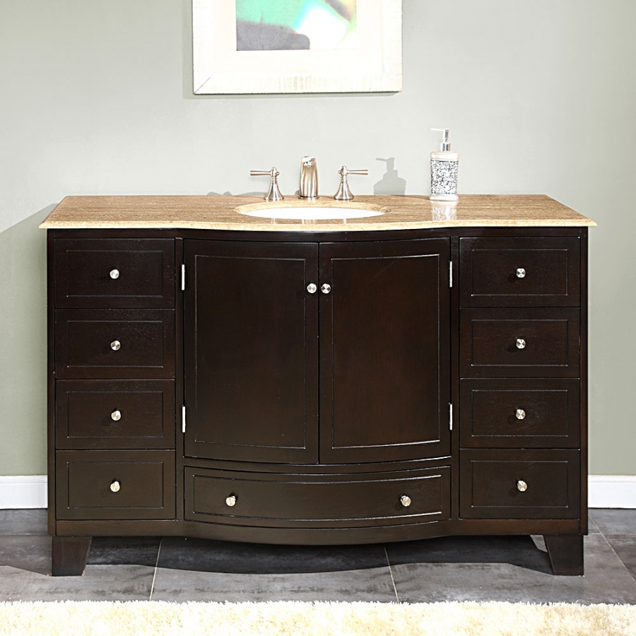 55 inch single sink bathroom vanity with travertine for Vanities for the bathroom