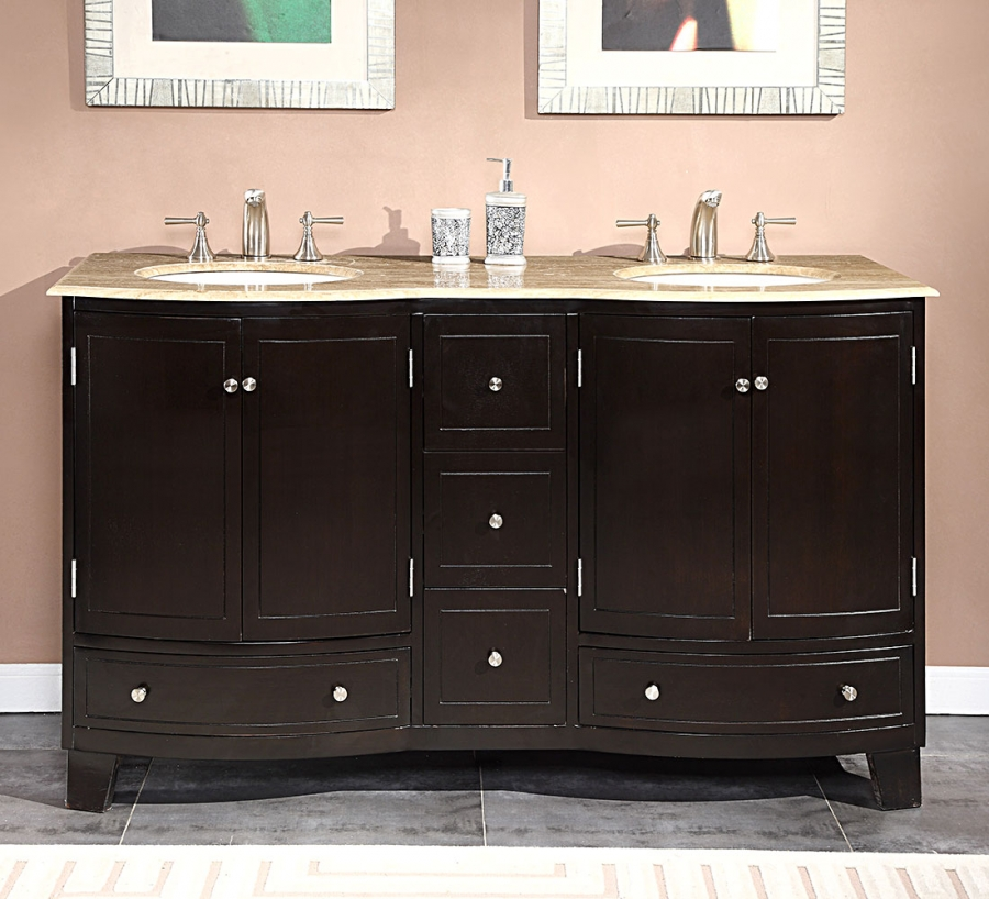 60 inch sink bathroom vanity with travertine 24974