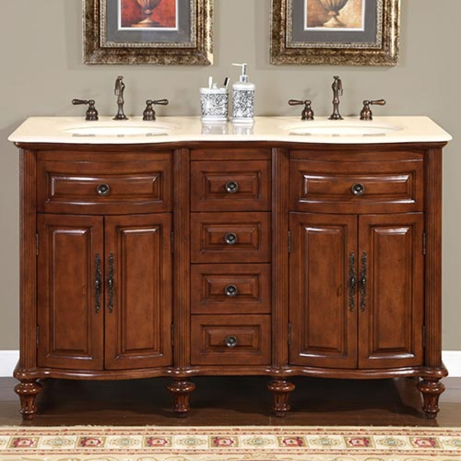 55 Inch Double Sink Bathroom Vanity With Cream Marfil Marble Uvsr071955