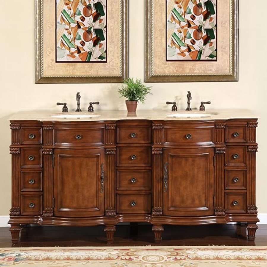 72 Inch Large Double Sink Vanity Cabinet With Travertine Top UVSR072272