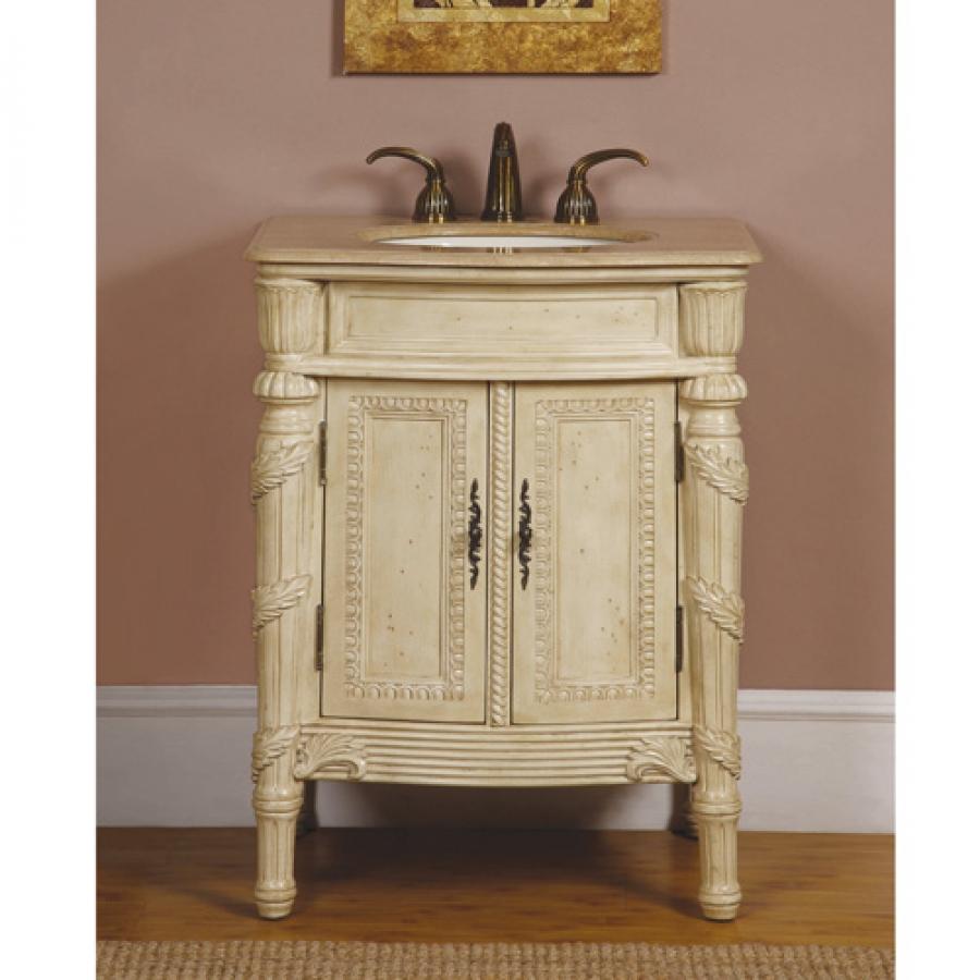 26 inch single sink bathroom vanity in antiqued white with - Antique bathroom sinks and vanities ...