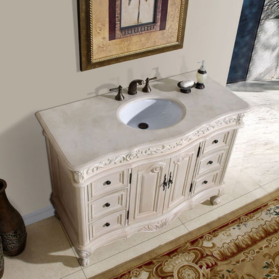 48 inch single sink vanity with cream marfil counter top - 48 inch white bathroom vanity with top ...