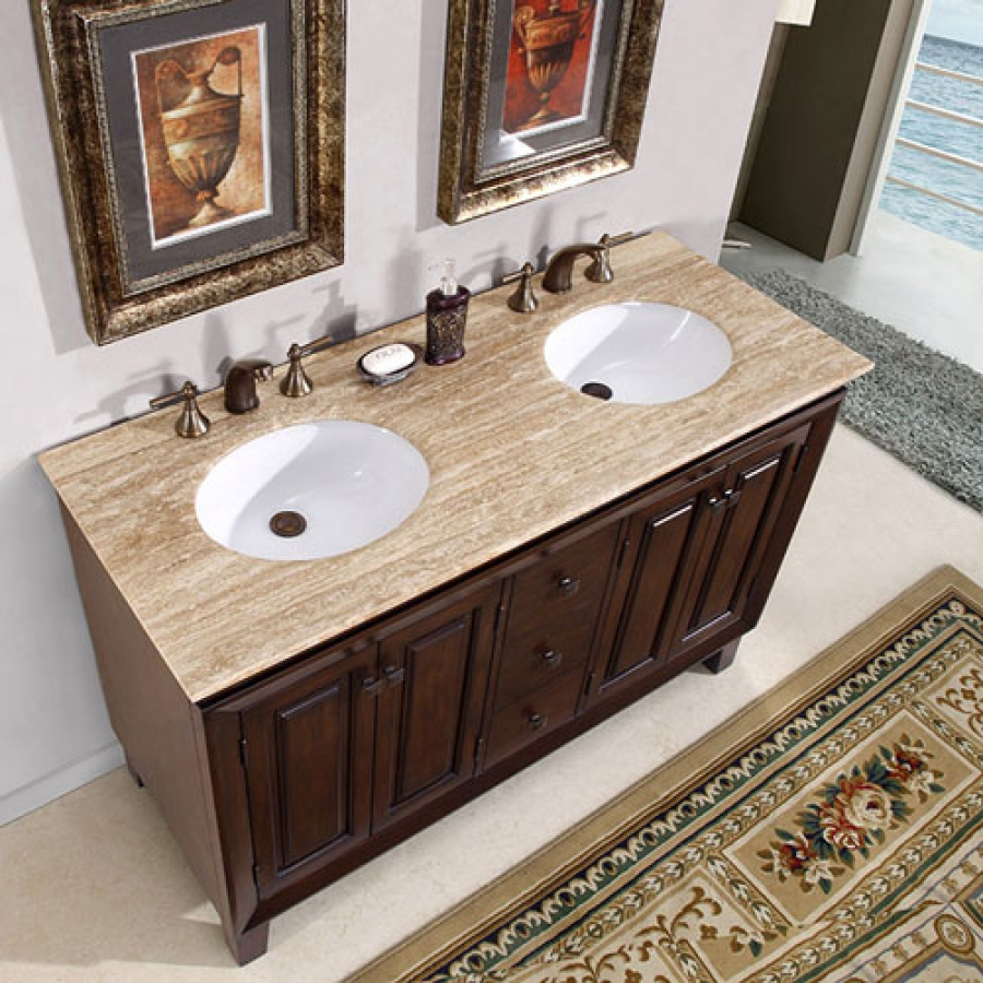 55 inch small furniture style double sink vanity with travertine uvsr020855. Black Bedroom Furniture Sets. Home Design Ideas