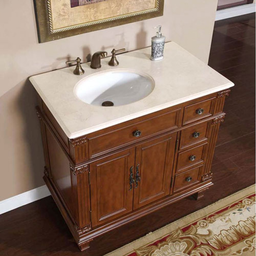 36 inch single sink bathroom vanity with cream marfil for Sink furniture cabinet