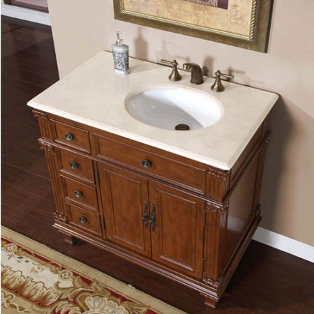 36 inch single sink bathroom vanity with cream marfil marble counter