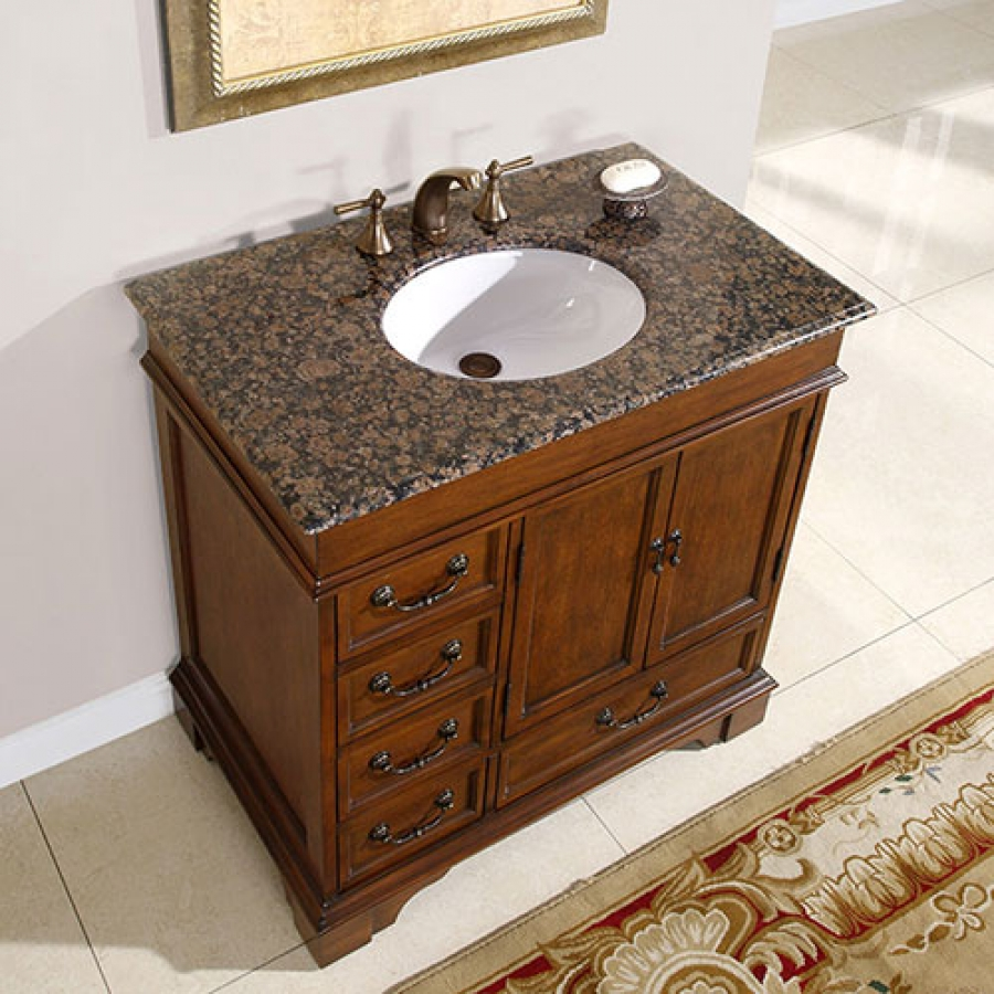 36 inch single sink bathroom vanity with granite counter for Bathroom sinks and vanities