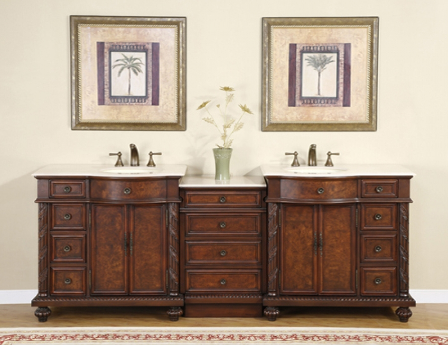 90 Inch Traditional Double Bathroom Vanity With Marble