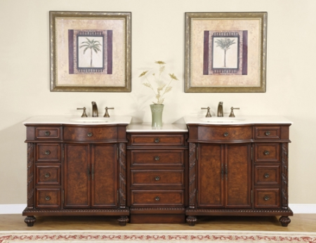 90 Inch Traditional Double Bathroom Vanity With Cream