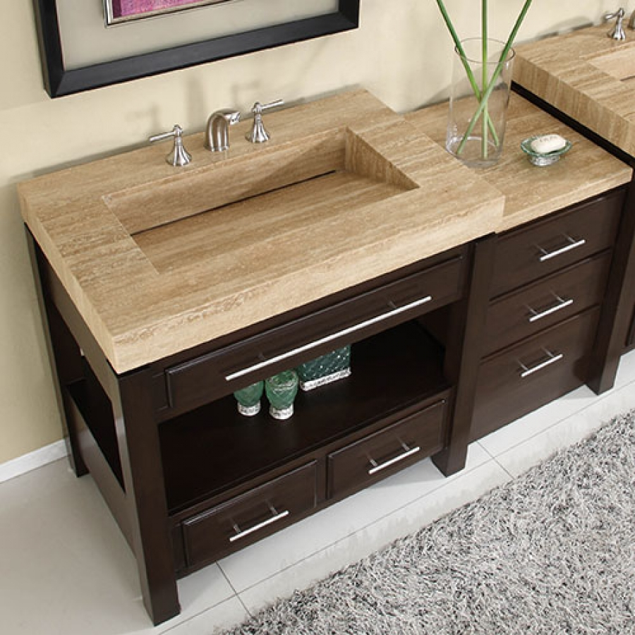 56 Inch Single Sink Cabinet With Espresso Finish And Travertine Top