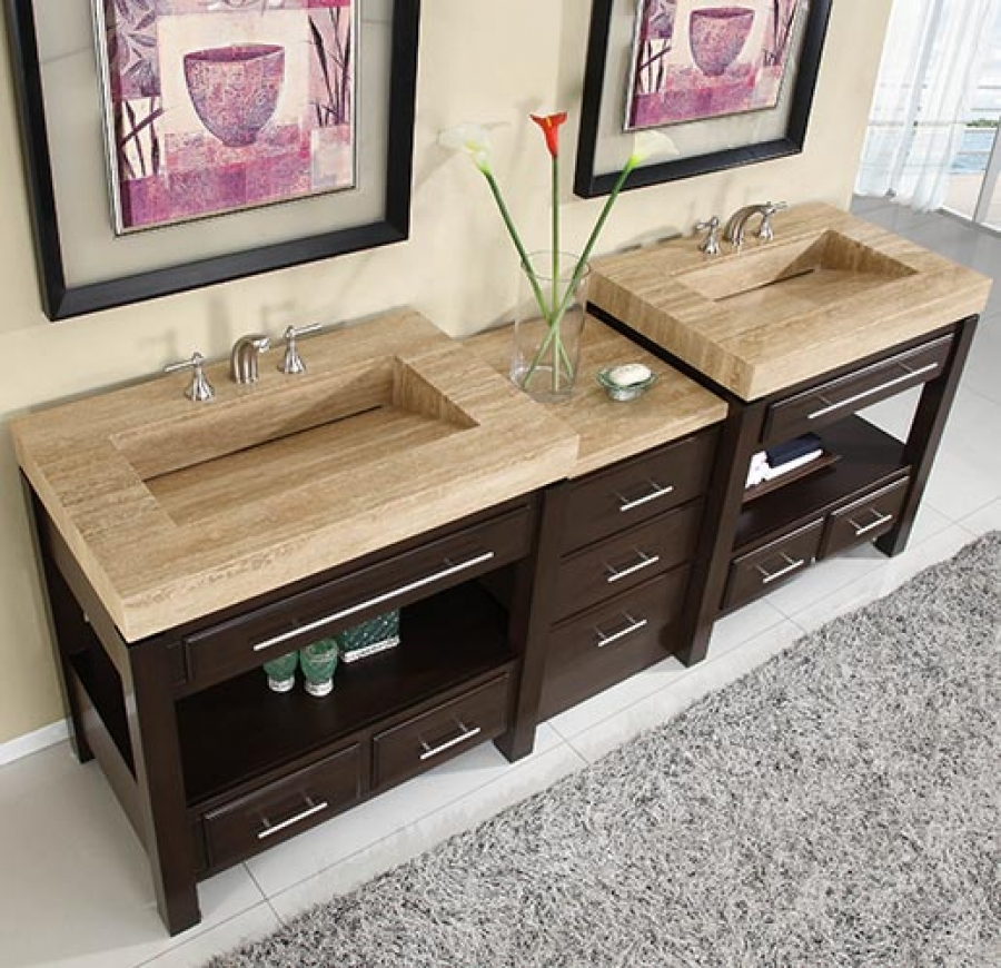 Extra Large Double Bathroom Vanities 92 inch double sink cabinet with espresso finish and travertine