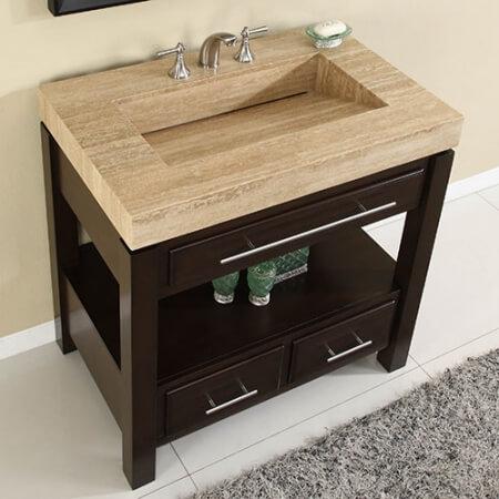 36 Inch Espresso Single Sink Bathroom Vanity with Travertine