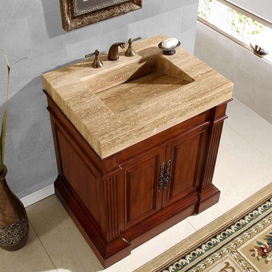 32 5 Inch Single Sink Vanity With A Unique Travertine Top Uvsr021933