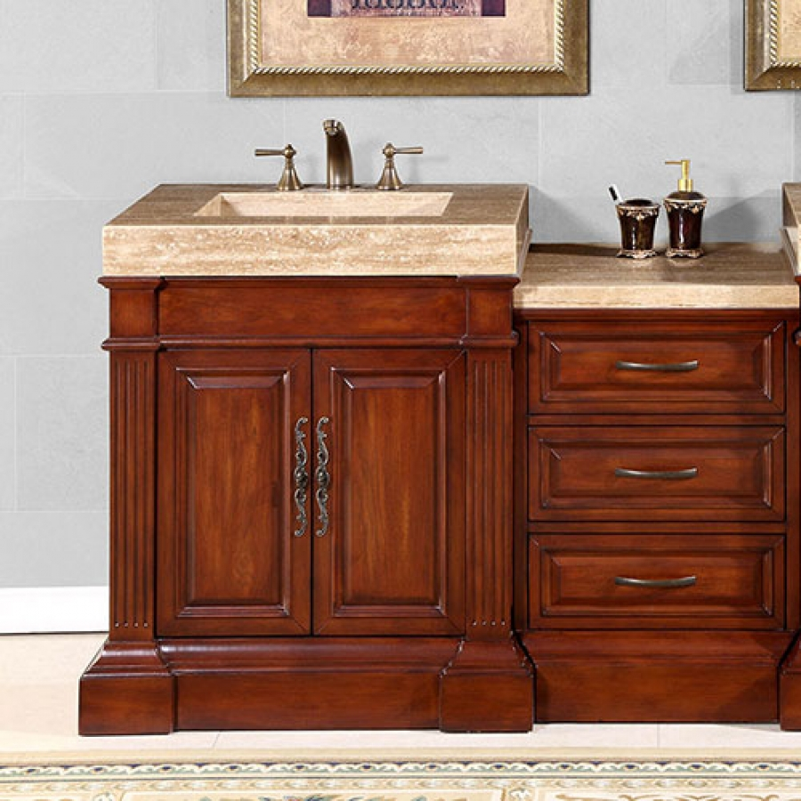 51 Inch Single Sink Bath Vanity Integrated Travertine Sink