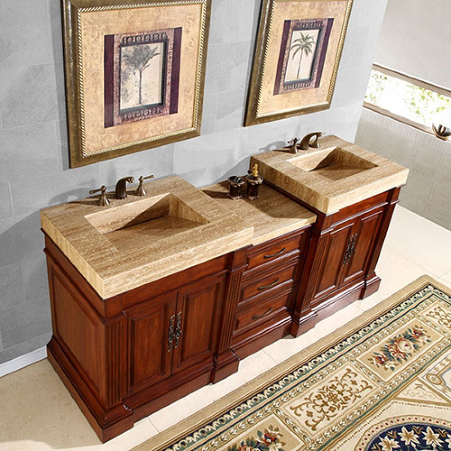 double sink vanity with a unique travertine top loading zoom