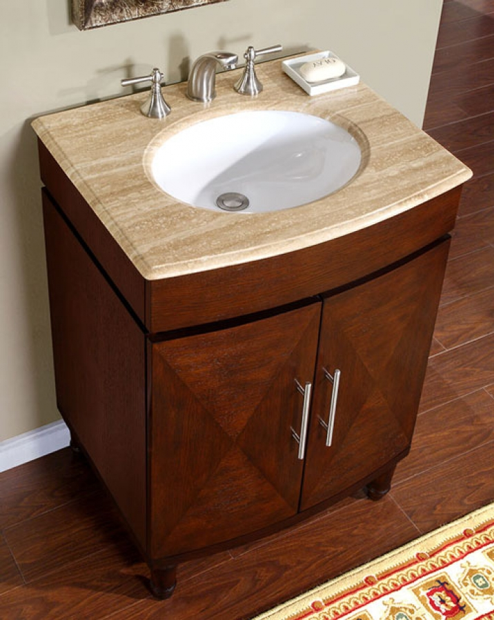 26 Inch Single Sink Vanity With A Unique Pattern On The