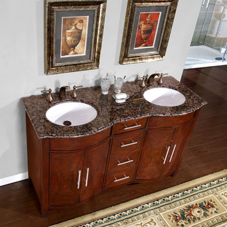 sink vanity with a baltic brown top and undermount white ceramic sinks