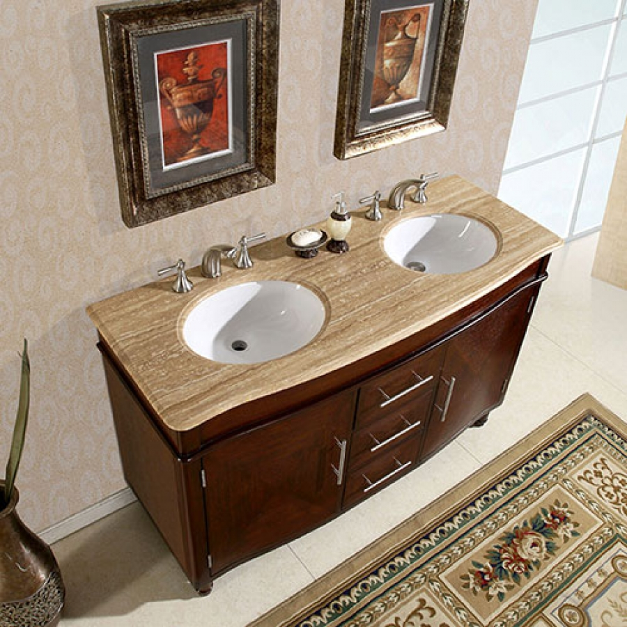 55 Inch Double Sink Vanity With Travertine Top And