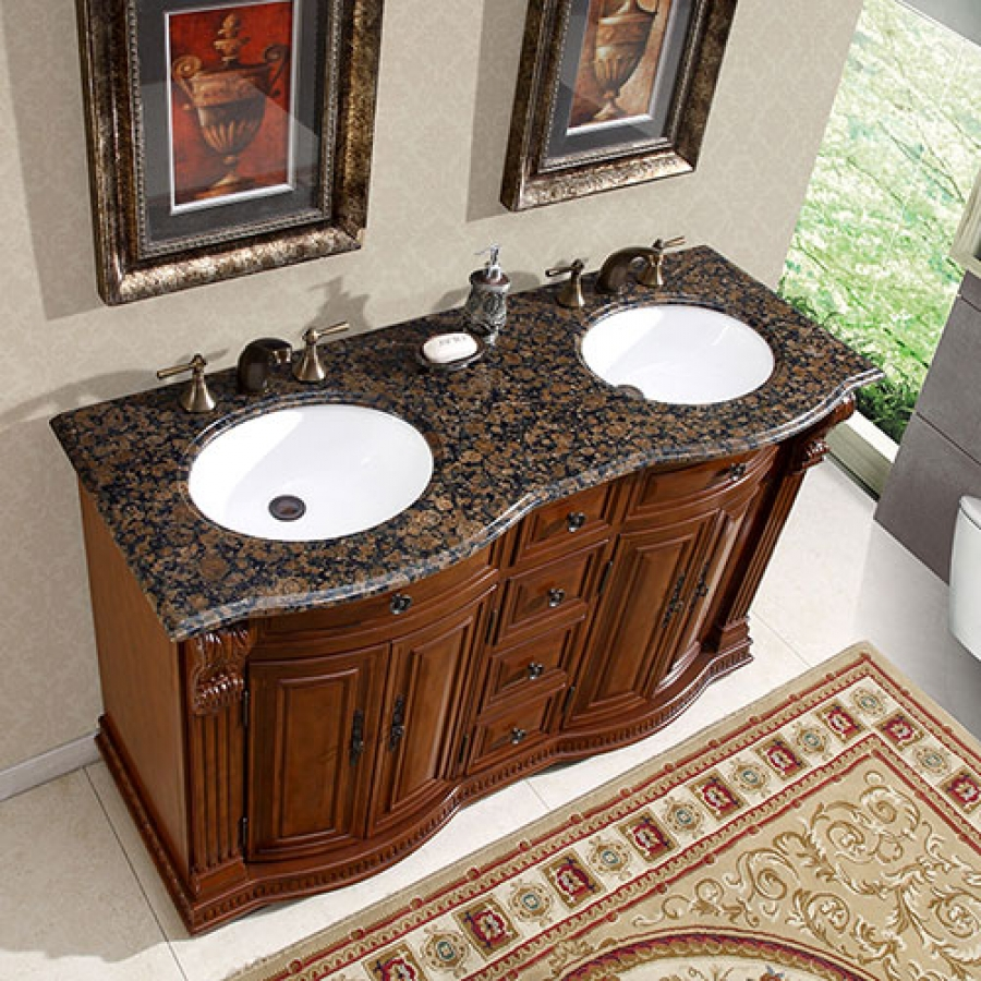 55 inch double sink vanity with baltic brown top and undermount white ceramic sinks uvsr022355. Black Bedroom Furniture Sets. Home Design Ideas
