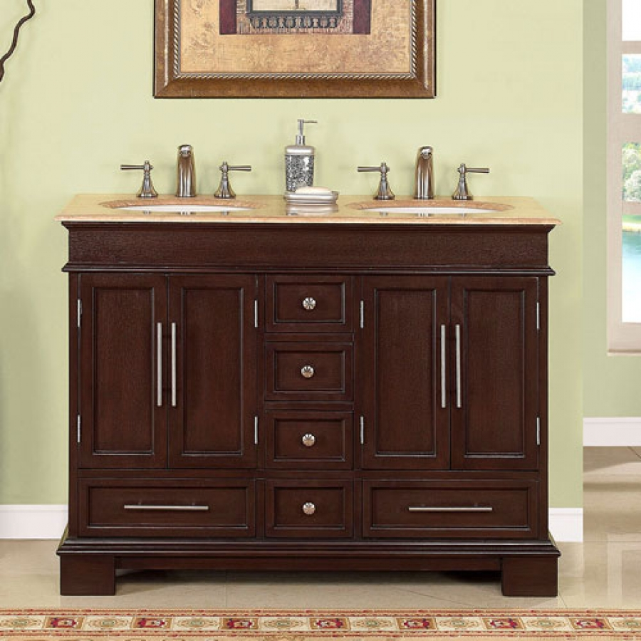 48 in double sink bathroom vanity 48 inch sink bathroom vanity in walnut uvsr022448 24768