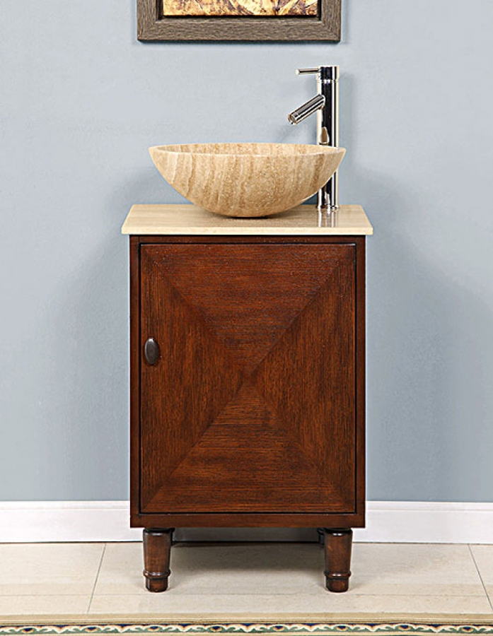 20 Inch Vessel Sink Bathroom Vanity With A Travertine Top