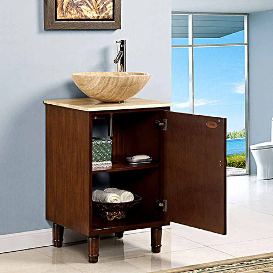 20 Inch Vessel Sink Bathroom Vanity with a Travertine Top UVSR022520