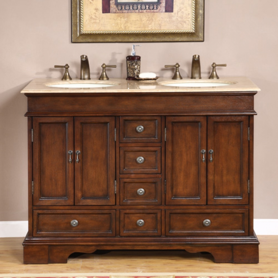 48 inch small double sink vanity in antique brown with for Bathroom 48 inch vanity
