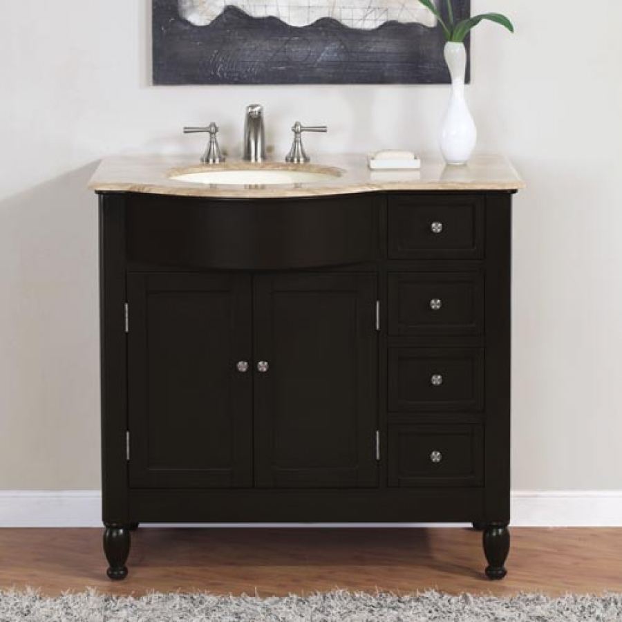 38 Inch Modern Single Bathroom Vanity With Travertine And 2 Doors 4 Drawers Uvsr090238