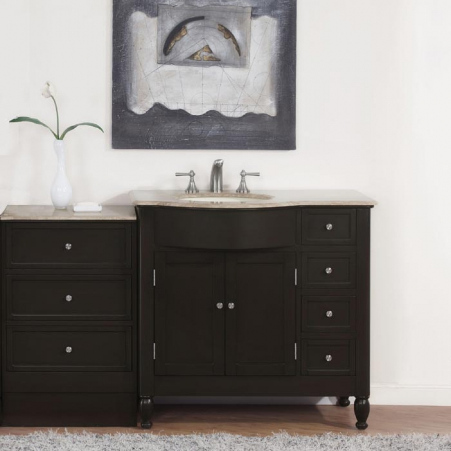 58 Inch Modern Single Bathroom Vanity With Travertine And 2 Doors 7 Drawers Uvsr090258