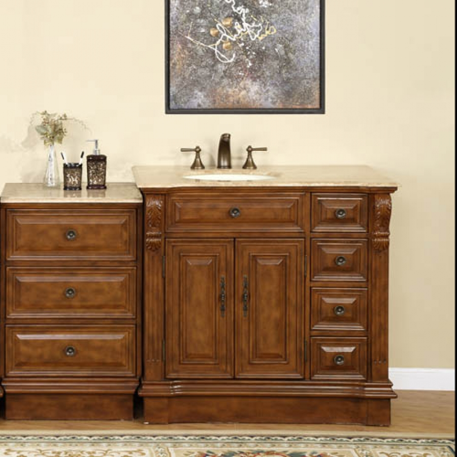 58 Inch Traditional Single Bathroom Vanity With Travertine And 2 Doors 7 Drawers Uvsr090458