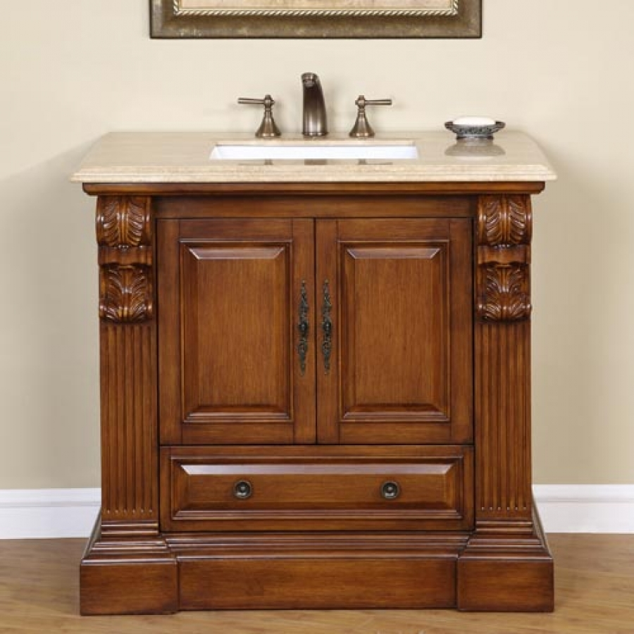 Inch Traditional Single Bathroom Vanity With Travertine And - 38 inch bathroom vanity