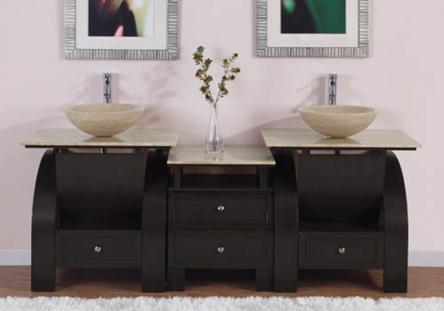 77 Inch Modern Double Bathroom Vanity With Travertine Vessel Sink And Top And
