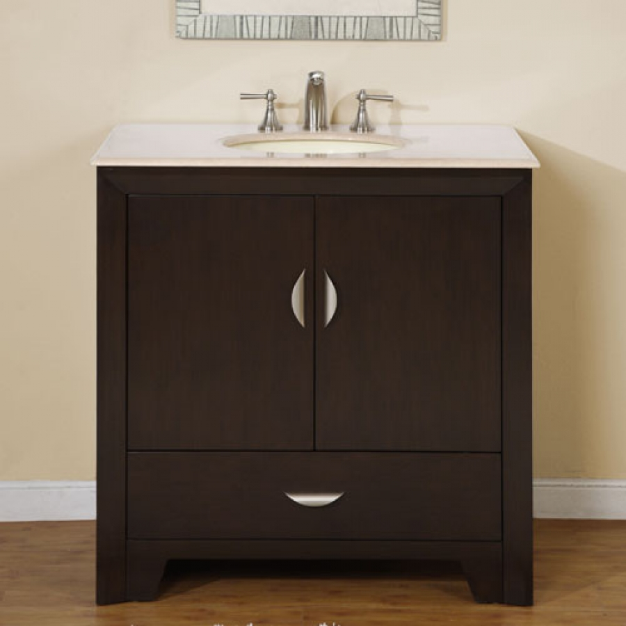 36 Inch Modern Single Bathroom Vanity with Choice of Counter Top and 2 ...