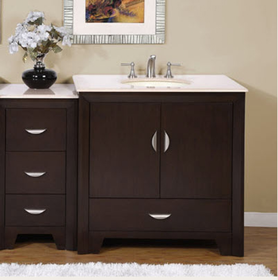 54 Inch Modern Single Bathroom Vanity with Choice of Counter Top and ...
