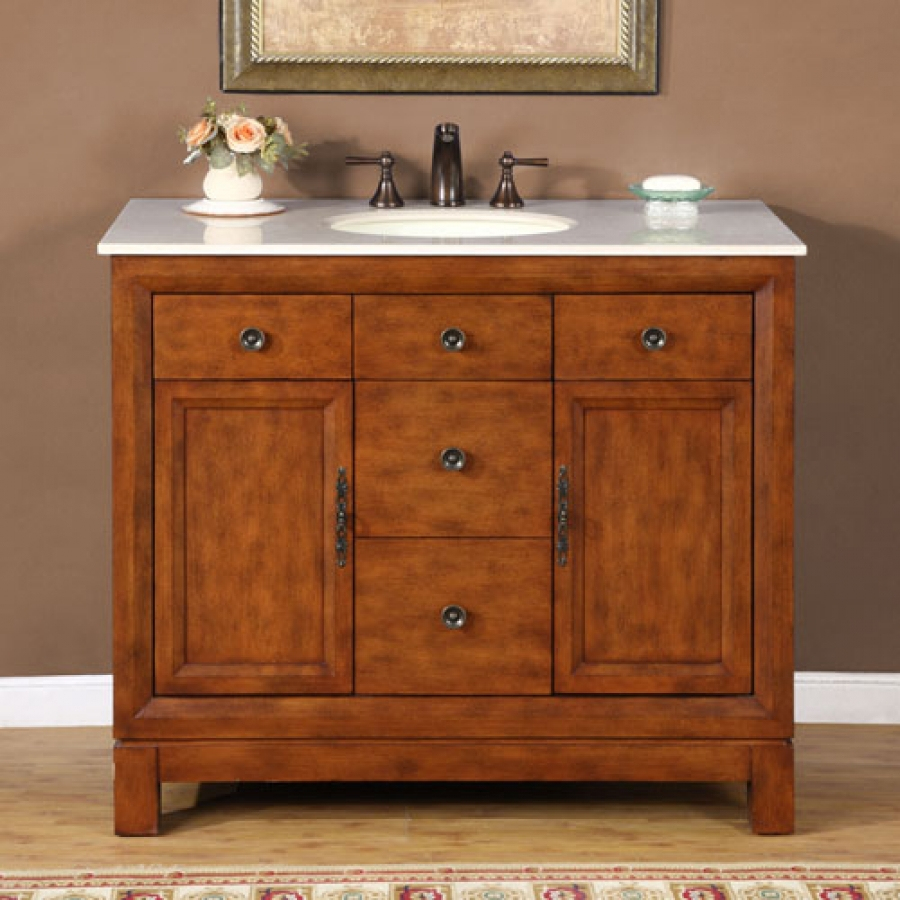 42 Inch Traditional Single Bathroom Vanity With Choice Of Counter Top And 2 Doors 2 Drawers