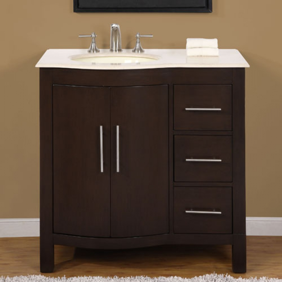 Attirant 36 Inch Modern Single Bathroom Vanity With Cream Marfil Marble And 2 Doors  3 Drawers UVSR0912L36