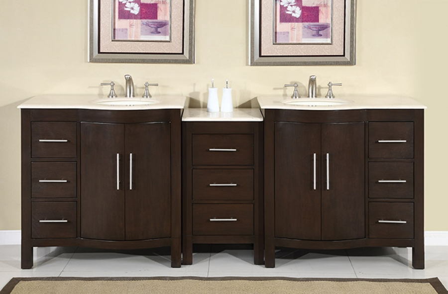 83 Inch Bathroom Vanity 84 inch led lighted double sink vanity with travertine uvsr0193tl84
